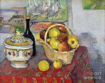 Fruit Painting - Still Life With Tureen by Paul Cezanne