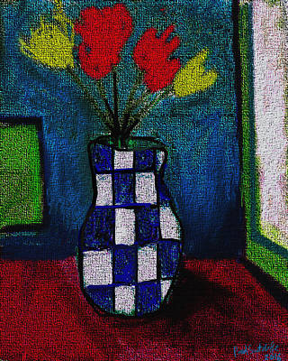 Digital Painting - Still Life With Vase And Flowers  by Paul Sutcliffe