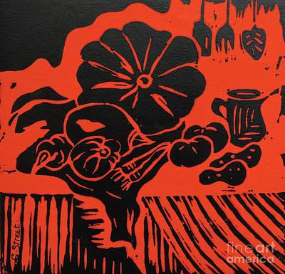 Lino Painting - Still Life With Veg And Utensils Black On Red by Caroline Street