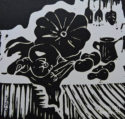 Lino Painting - Still-life With Veg And Utensils Black On White by Caroline Street