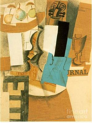 Pablo Mixed Media - Still Life With Violin And Fruits by Pablo Picasso