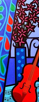 Wine Bottle Painting - Still Life With Violin by John  Nolan
