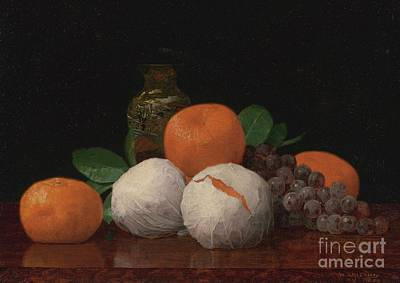 Still Life With Wrapped Tangerines Print by Celestial Images