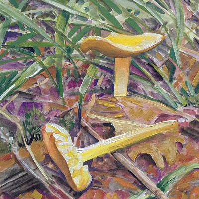 Still Life With Yellow Mushrooms Print by Barbara Hranilovich