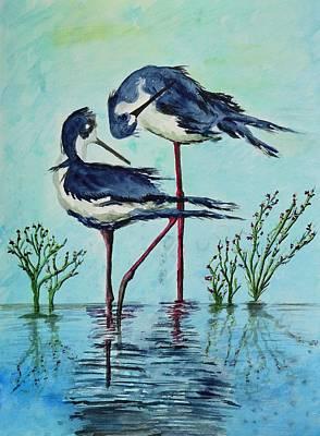 Stilts Bathing Original by Linda Brody