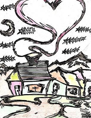 Banksy Drawing - Stitchlip's House by Levi Glassrock