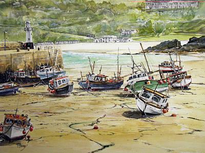 St.ives Harbour Low Tide Cornwall Print by Keran Sunaski Gilmore