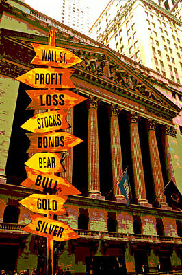 Stock Exchange And Signs Print by Garry Gay