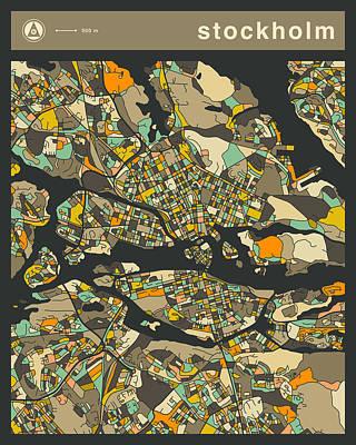 Stockholm Digital Art - Stockholm City Map by Jazzberry Blue