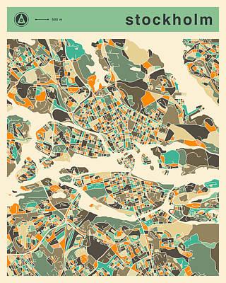 Stockholm Digital Art - Stockholm Map 2 by Jazzberry Blue