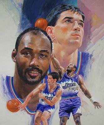 Utah Jazz Painting - Stockton-malone by Cliff Spohn