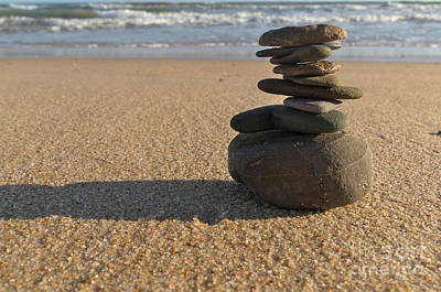 Sunset Photograph - Stone Balance On The Beach by Angelo DeVal