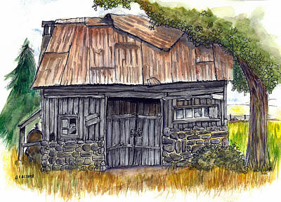 Old Barn Drawing Painting - Stone Barn by Albert Calzetta