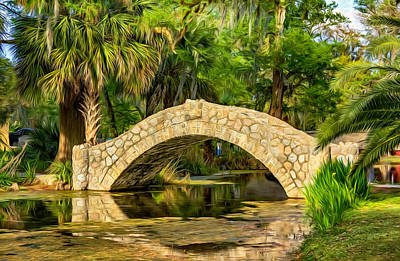Walkway Digital Art - Stone Bridge 2 - Paint by Steve Harrington