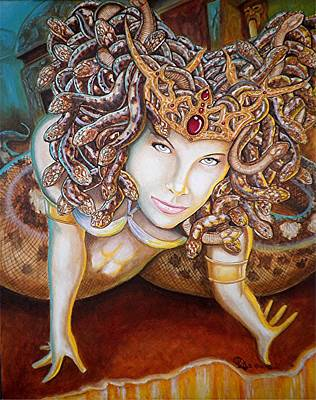 Gorgon Painting - Stone Cold Beauty by Al  Molina