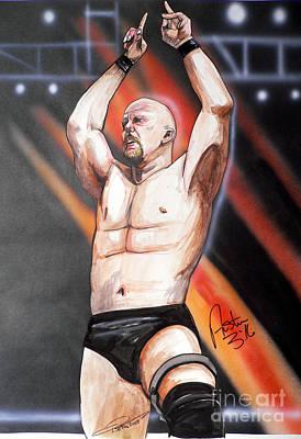 Wrestling Drawing - Stone Cold Steve Austin by Dave Olsen