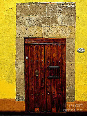 Stone Door In Yellow Print by Mexicolors Art Photography