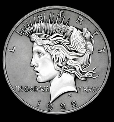 Stone Face Peace Dollar Original by Fred Larucci