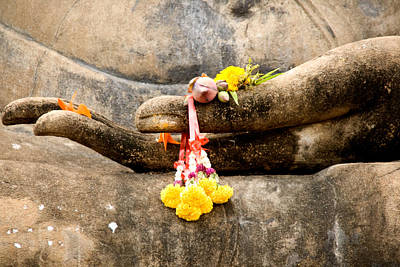 Stone Hand Of Buddha Print by Adrian Evans