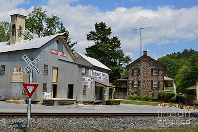 Stone House And Old Feed Mill Print by Bob Sample