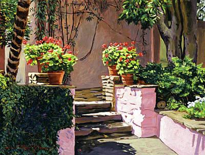 Stone Patio California Print by David Lloyd Glover