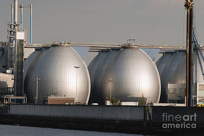 Background Photograph - Storage Tanks In Oil Depot by Dani Prints and Images
