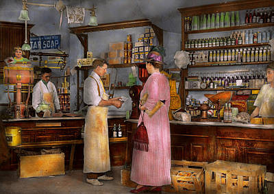 Store - In A General Store 1917 Print by Mike Savad