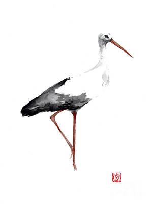 Stork Mixed Media - Stork Watercolor Art Print Painting by Joanna Szmerdt