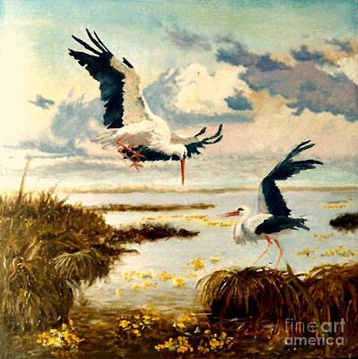 Yellow Beak Painting - Storks II by Henryk Gorecki