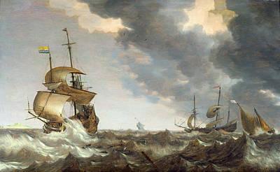 Waving Flag Painting - Storm At Sea by Bonaventura Peeters