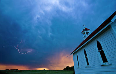 Storm Clouds Over Saskatchewan Country Church Print by Mark Duffy