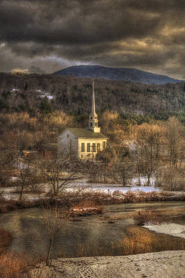 Storm Clouds Over White Church - Stowe Vermont Print by Joann Vitali