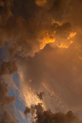 Storm Clouds Sunset - Dramatic Oranges - A Vertical View Print by Georgia Mizuleva