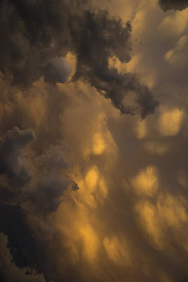 Storm Clouds Sunset - Ominous Grays And Yellows - A Vertical View Print by Georgia Mizuleva
