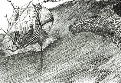 Viking Ships Drawing - Storm Creator Atlantic by Vincent Alexander Booth