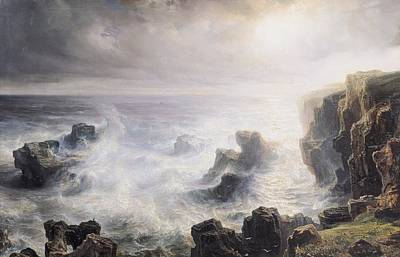 Inclement Painting - Storm Off The Coast Of Belle Ile by Jean Antoine Theodore Gudin