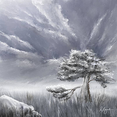 Eerie Painting - Storm Over Hayfield- Navy And Gray Art- Hayfield Art by Lourry Legarde