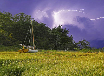 Beetle Cat Photograph - Storm Over Knott's Island by Charles Harden