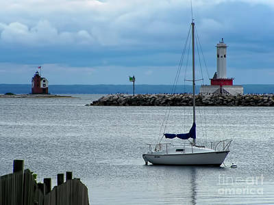 Sailboats Photograph - Storm Over Mackinac by Pamela Baker