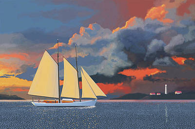 Storm Clouds Painting - Storm Schooner by Gary Giacomelli