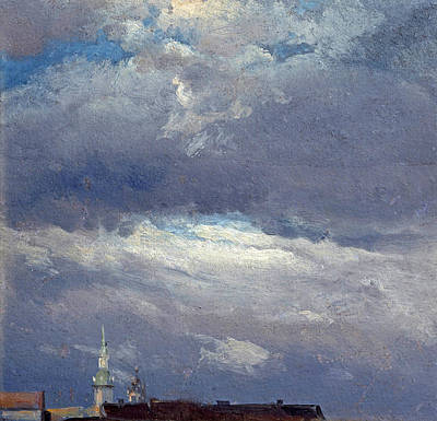Johan Christian Dahl Painting - Stormclouds Over The Castle Tower In Dresden by Johan Christian Claussen Dahl
