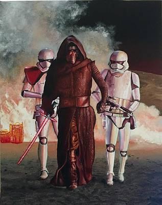 Chewbacca Painting - Storming Jakku by Ondria Rees