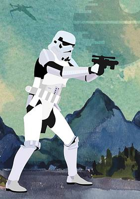 Stormtrooper Digital Art - Stormtrooper Star Wars Character Quotes Poster by Lab No 4