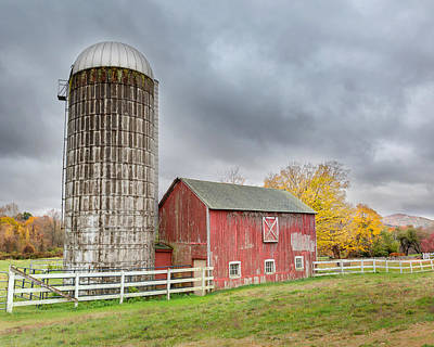 Silos Photograph - Stormy Autumn Skies by Bill Wakeley