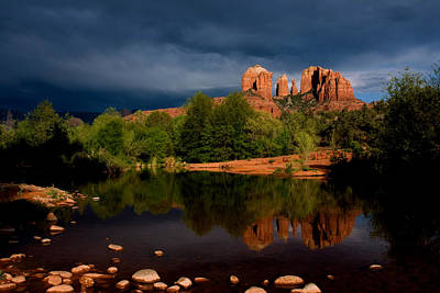 Stormy Day At Cathedral Rock Print by David Sunfellow