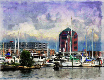 Stormy Weather Drawing - Stormy Day At Fells Point Dock  by Chet Dembeck