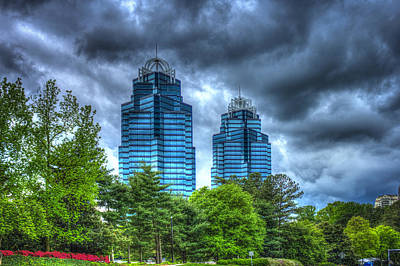 Stormy Day Blues Concourse Buildings Atlanta Print by Reid Callaway