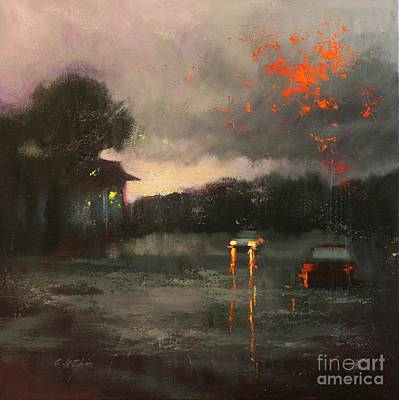 Painting - Stormy Evening by Chin H Shin