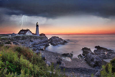 Maine Coast Digital Art - Stormy Portland by Lori Deiter