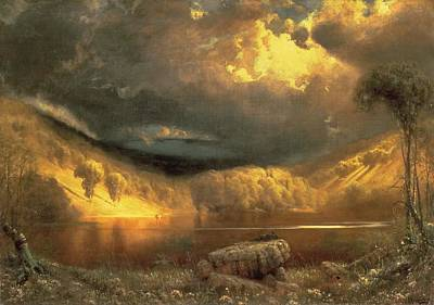 Golden Sunlight Painting - Stormy Skies Above Echo Lake White Mountains  by Fairman California
